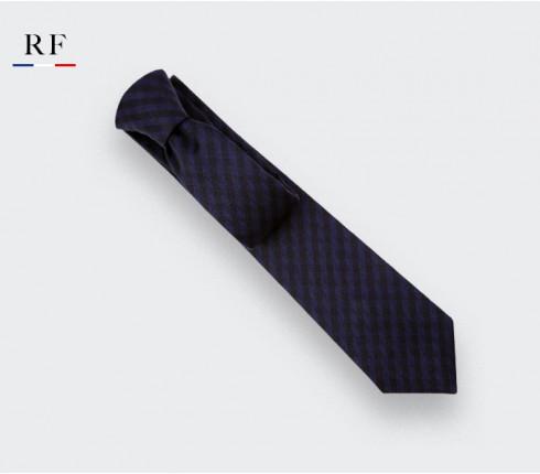 Navy Blue and Black Herringbone Tie - wool - Cinabre Paris