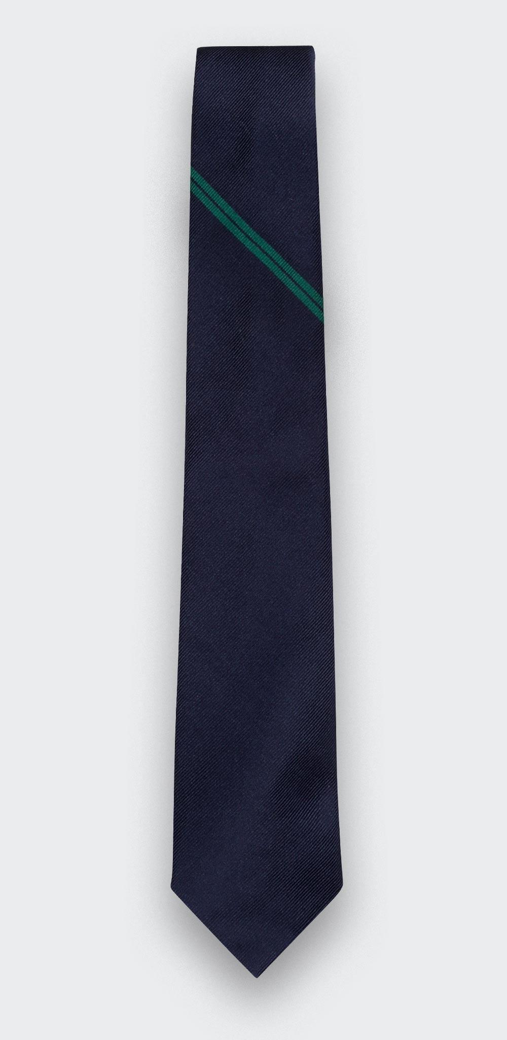 Green Single Stripe Tie - Cinabre Paris