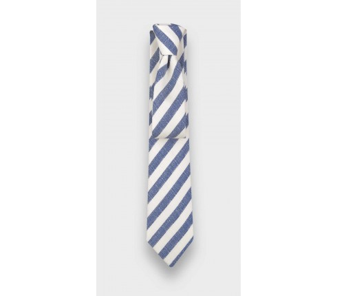 Tie Guethary white and blue stripes by Cinabre made in France