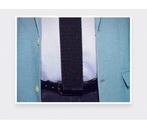 Cravate Tricot Marine Pois Bordeaux - Fait main par Cinabre Paris