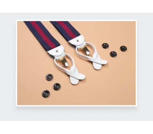 Navy and Burgundy Striped Braces - Cinabre Paris