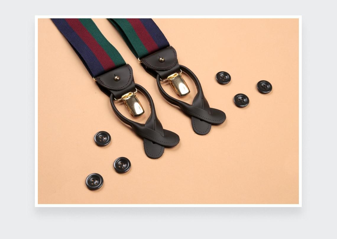 Navy Burgundy Green Striped Braces - Cinabre Paris