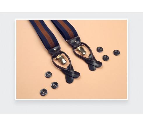Navy and Brown Striped Braces - Cinabre Paris