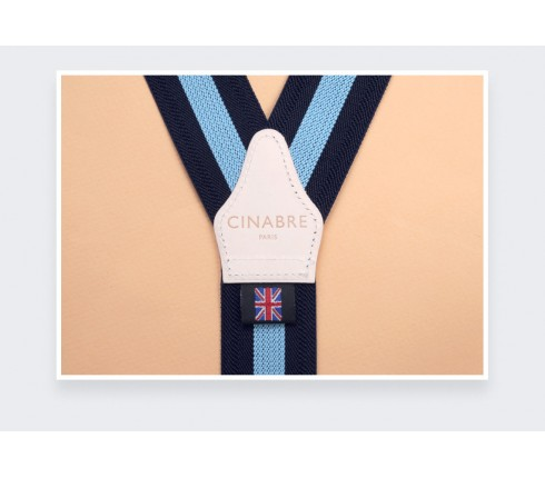 Navy and Sky Striped Braces - Cinabre Paris