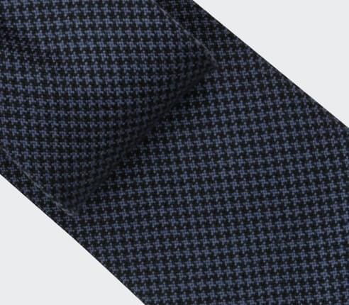 Navy Blue Houndstooth Tie - Cinabre Paris