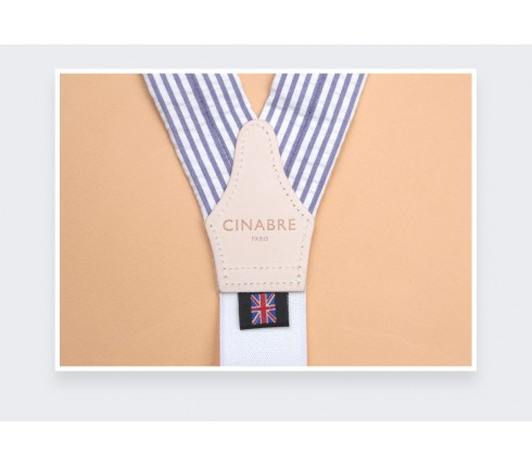 Blue striped seersucker braces - Cinabre Paris