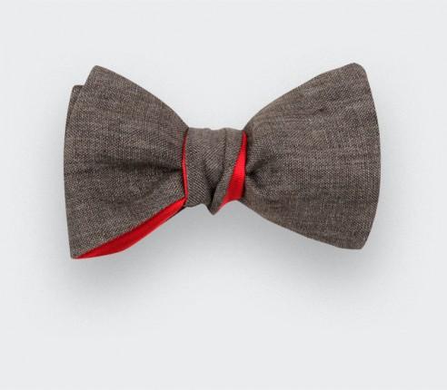 Brown Linen Bow Tie - Cinabre Paris