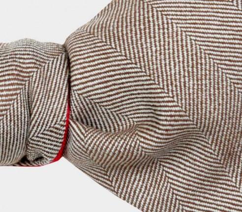 Light Brown Herringbone Bow Tie - Cinabre Paris