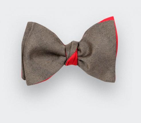 Brown Herringbone Bow Tie - Cinabre Paris