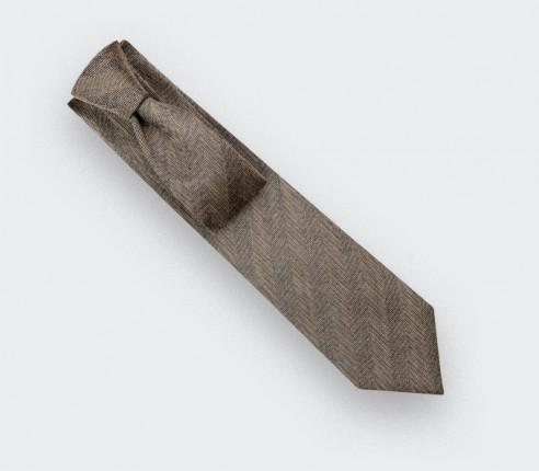 Brown Herringbone Tie - Cinabre Paris
