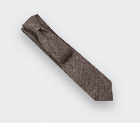 Brown Linen tie - Cinabre Paris