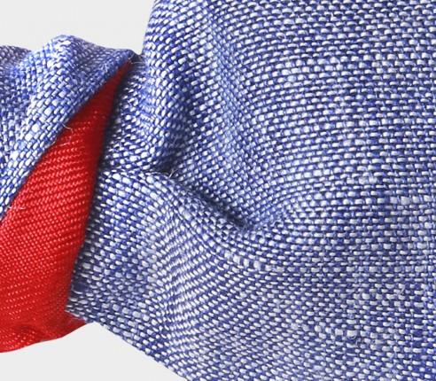 Washed Blue Linen Kid Bow Tie - Cinabre Paris