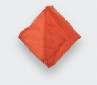 Orange Silk Chiffon Pocket...