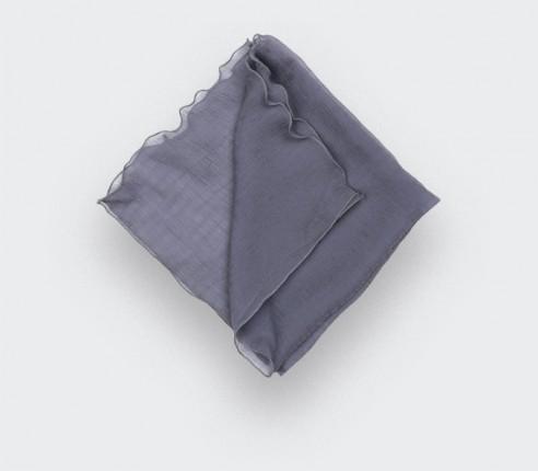 Grey silk chiffon pocket square - Cinabre Paris