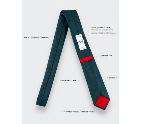 cravate flanelle vert canard - laine - cinabre paris