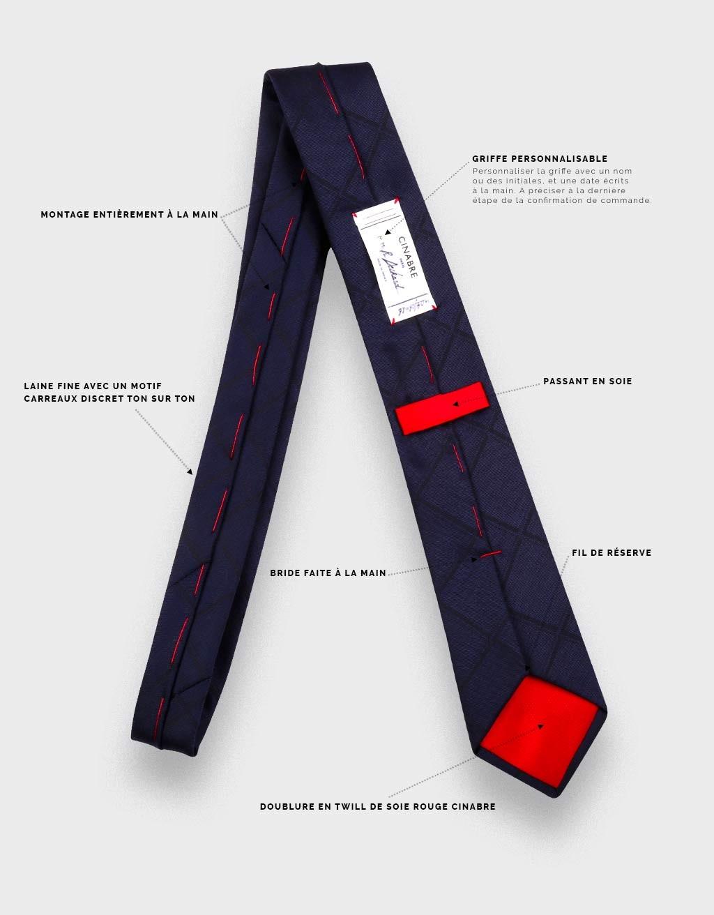 Cravate Carreaux Camaïeu Marine  - laine - Cinabre Paris