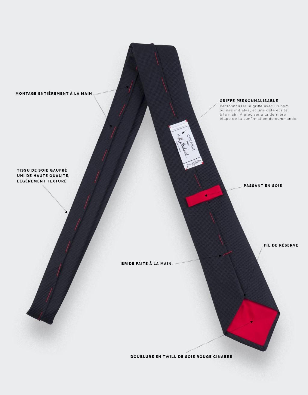 Cravate Lézard Noir - soie - Cinabre Paris