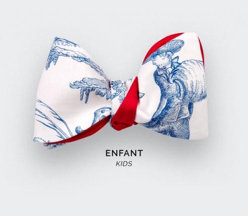 CINABRE PARIS - Noeud Papillon Enfant - Toile de Jouy bleu - Fait main