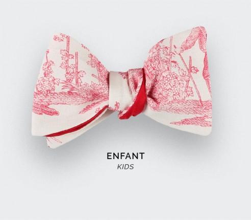 CINABRE Paris - Kid Bowtie - Red Toile de Jouy - handmade