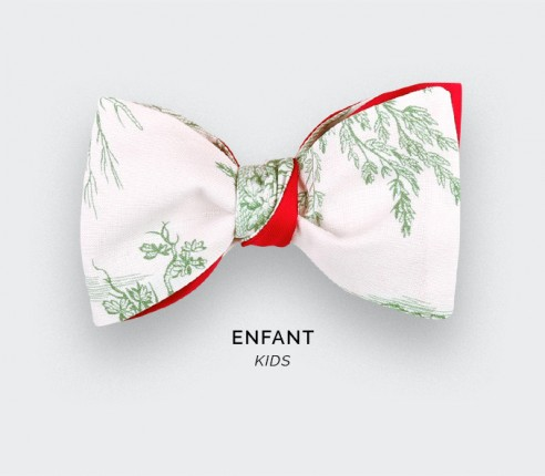 CINABRE Paris - Kid Bowtie - Green Toile de Jouy - handmade