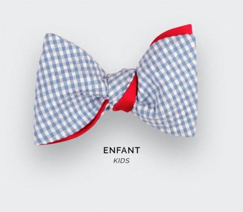 Sky Blue Gingham Seersucker Kid Bow tie - Cinabre Paris