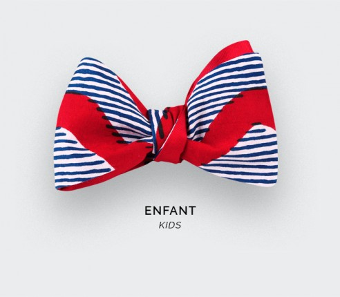 Noeud papillon Enfant Wax Vagues Rouges - CINABRE PARIS