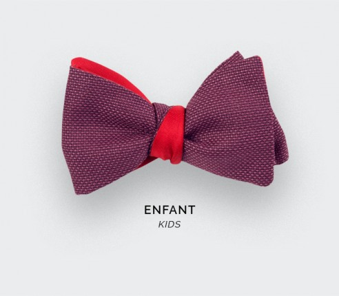Fuchsia Mesh Kid Bow Tie - wool - Cinabre Paris