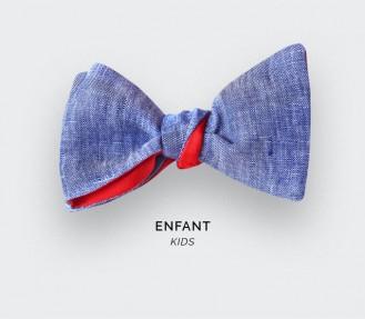 Noeud Papillon Enfant Lin Bleu Délavé - CINABRE Paris