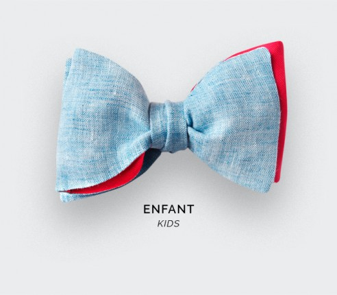 Frosty Blue Linen Kid Bow Tie - Cinabre Paris