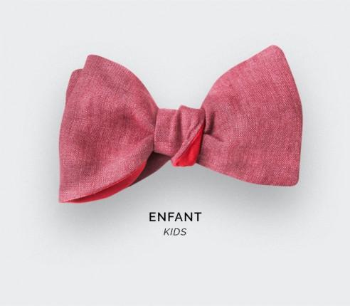 Noeud Papillon Enfant Lin Framboise - CINABRE Paris