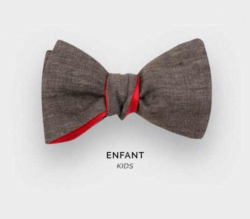 Brown Linen Kid Bow Tie - Cinabre Paris