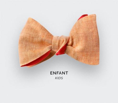 Orange Linen Kid Bow Tie - CINABRE Paris