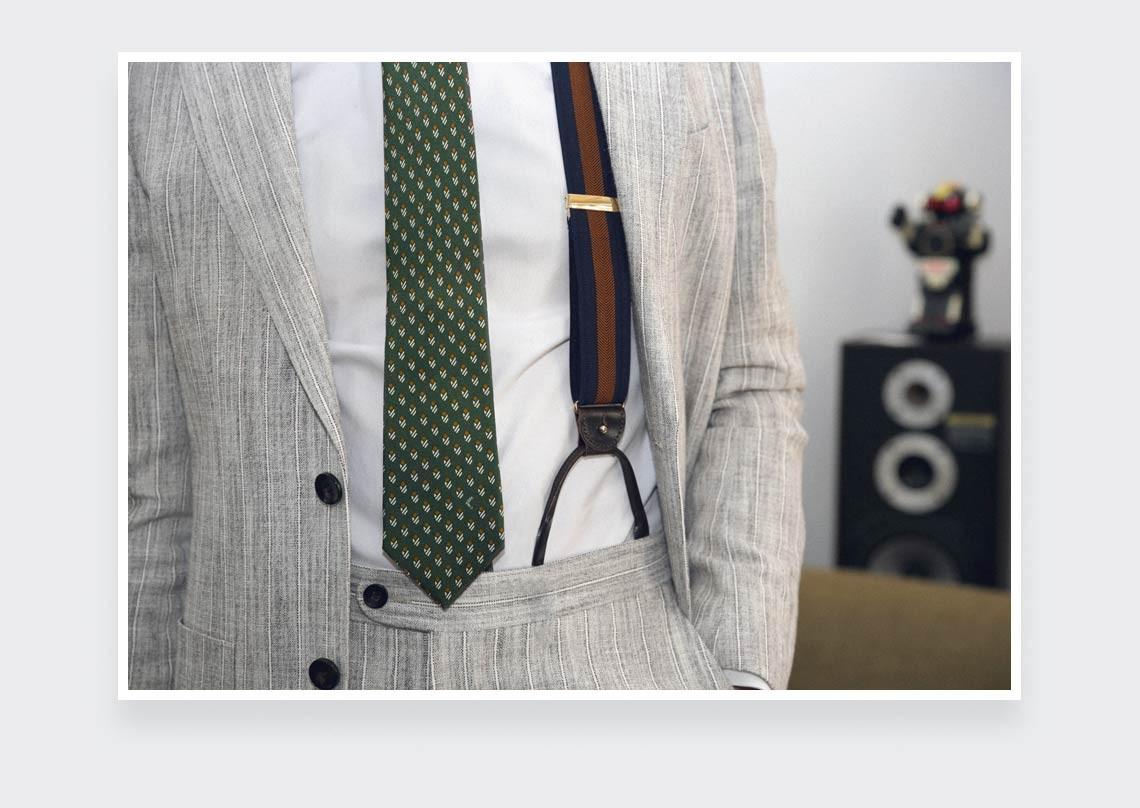Cravate Grand Pan Kaki - Cinabre Paris