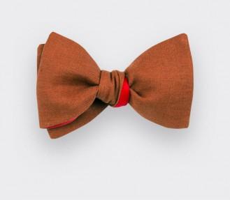 Terracotta Linen Bow Tie
