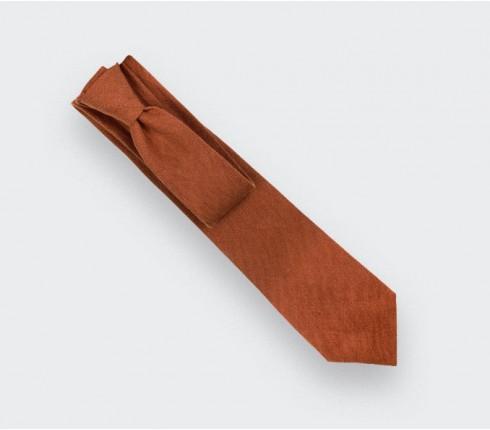 Terracotta Linen tie - Cinabre Paris