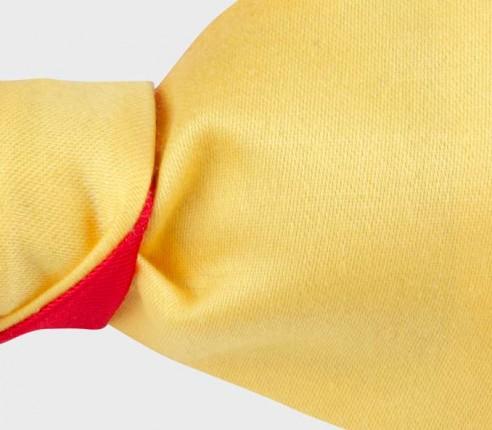 Nœud papillon jaune en coton et soie, fait main en France, Cinabre Paris