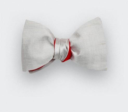Grey Dupion Bow Tie - Cinabre Paris