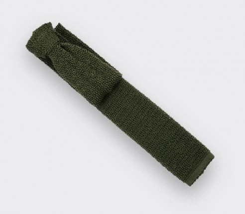 Khaki Knitted Tie - Cinabre Paris