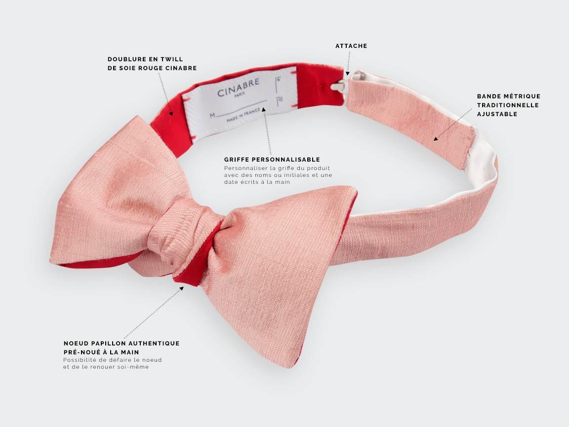 Pink Dupion Bow tie- Cinabre Paris