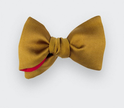 Mustard Silk Faille Bow Tie - Handmade in France by Cinabre Paris