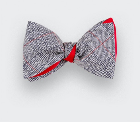 Red Stripes Prince of Wales Bow Tie - Cinabre Paris - Handmade in France