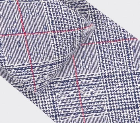 Red Stripes Prince of Wales Tie - Cinabre Paris - Handmade in France