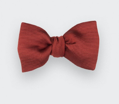 Terracotta Silk Faille Bow Tie - Handmade in France by Cinabre Paris