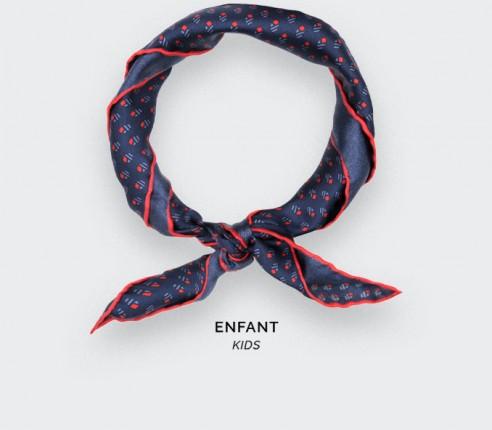 Foulard Enfant Grand Pan Marine Rouge - Cinabre Paris