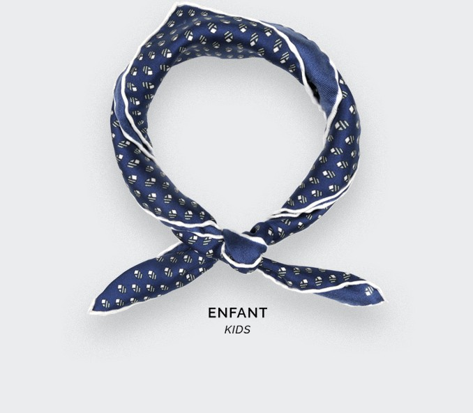 Foulard Enfant Grand Pan Marine Gris - Cinabre Paris