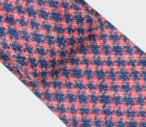 Pink and Blue houndstooth tie - Cinabre Paris