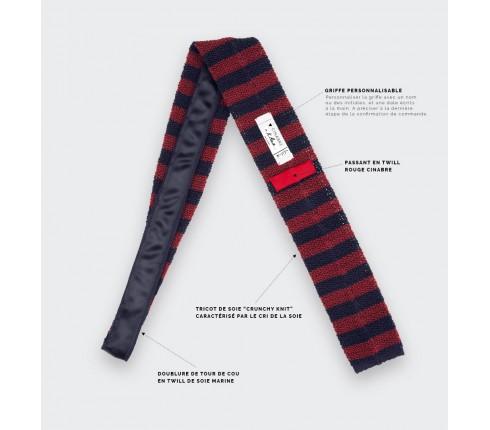 Navy Burgundy Striped Knitted Tie - Silk - Cinabre Paris