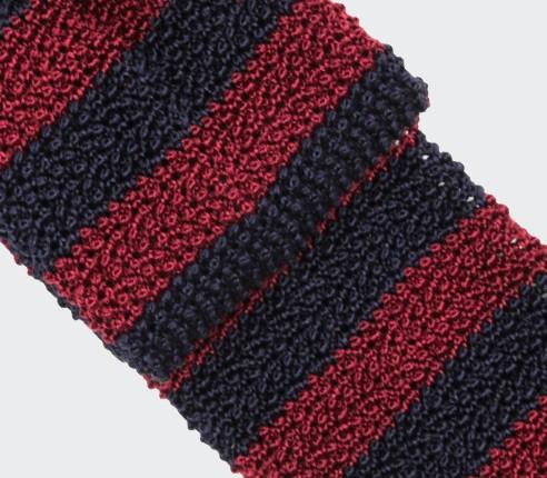 Cravate Tricot Rayée Bordeaux Marine - Soie - Cinabre paris