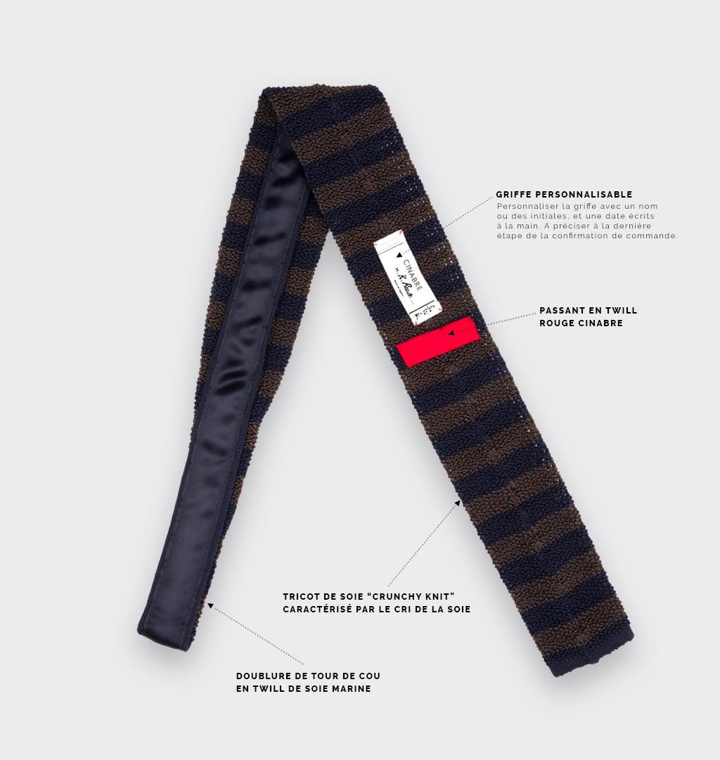Navy Brown Striped Knit Tie - Cinabre paris