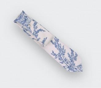 CINABRE Paris - Cravate - Toile de Jouy bleu - fait main